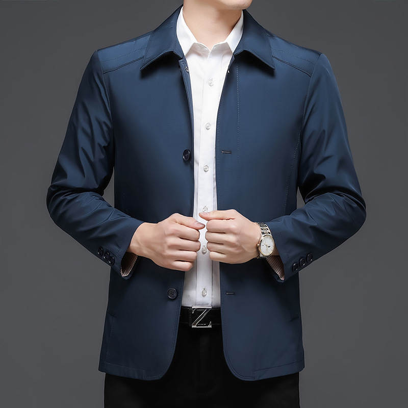 Jiumuwang official website 2021 autumn buttoned shirt coat dad mens jacket new middle-aged leisure solid color flip