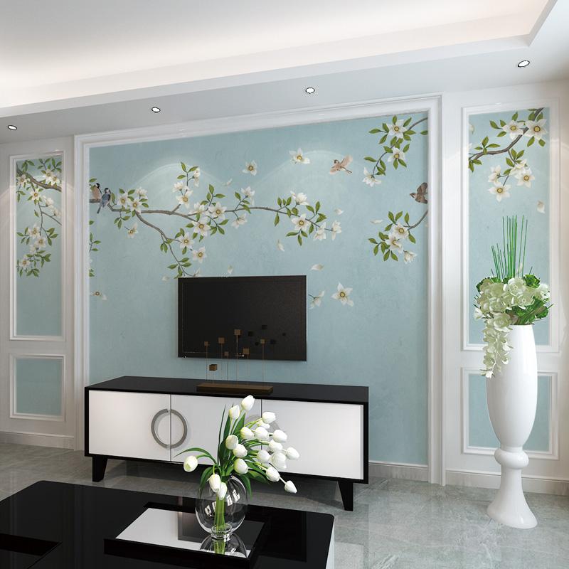 8D客厅新中式现代简约电视背景墙5d立体3d墙纸立体影视墙壁纸壁画