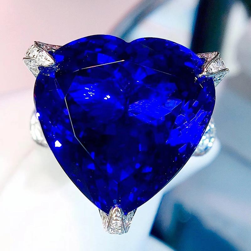 Super luxury full net 5A Royal Blue Tanzanite ring ring ring jewelry color treasure gemstone natural inlay