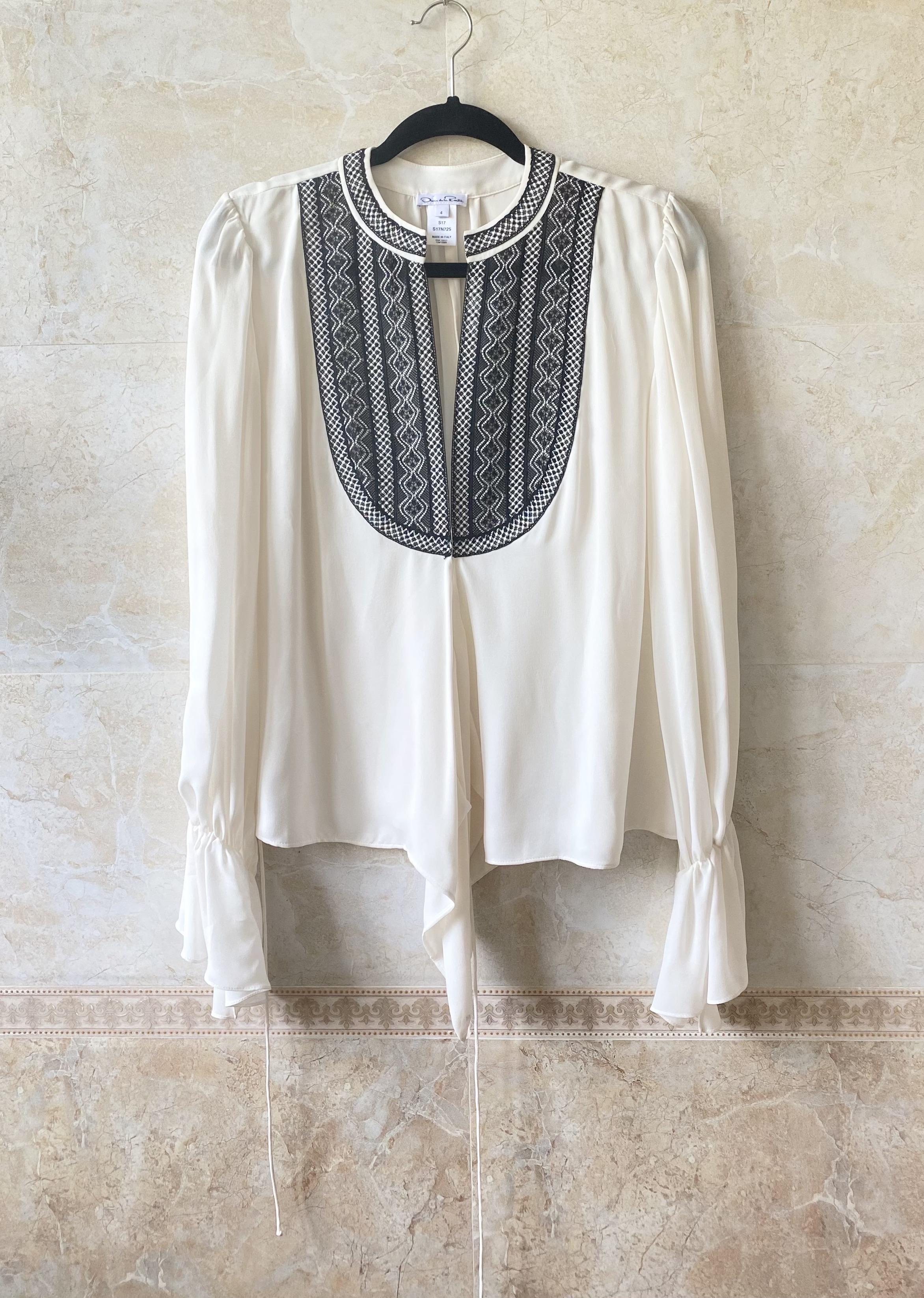 Oscar show water silk Ivory water sleeve Vintage Plaid Bohemian style shirt Renta