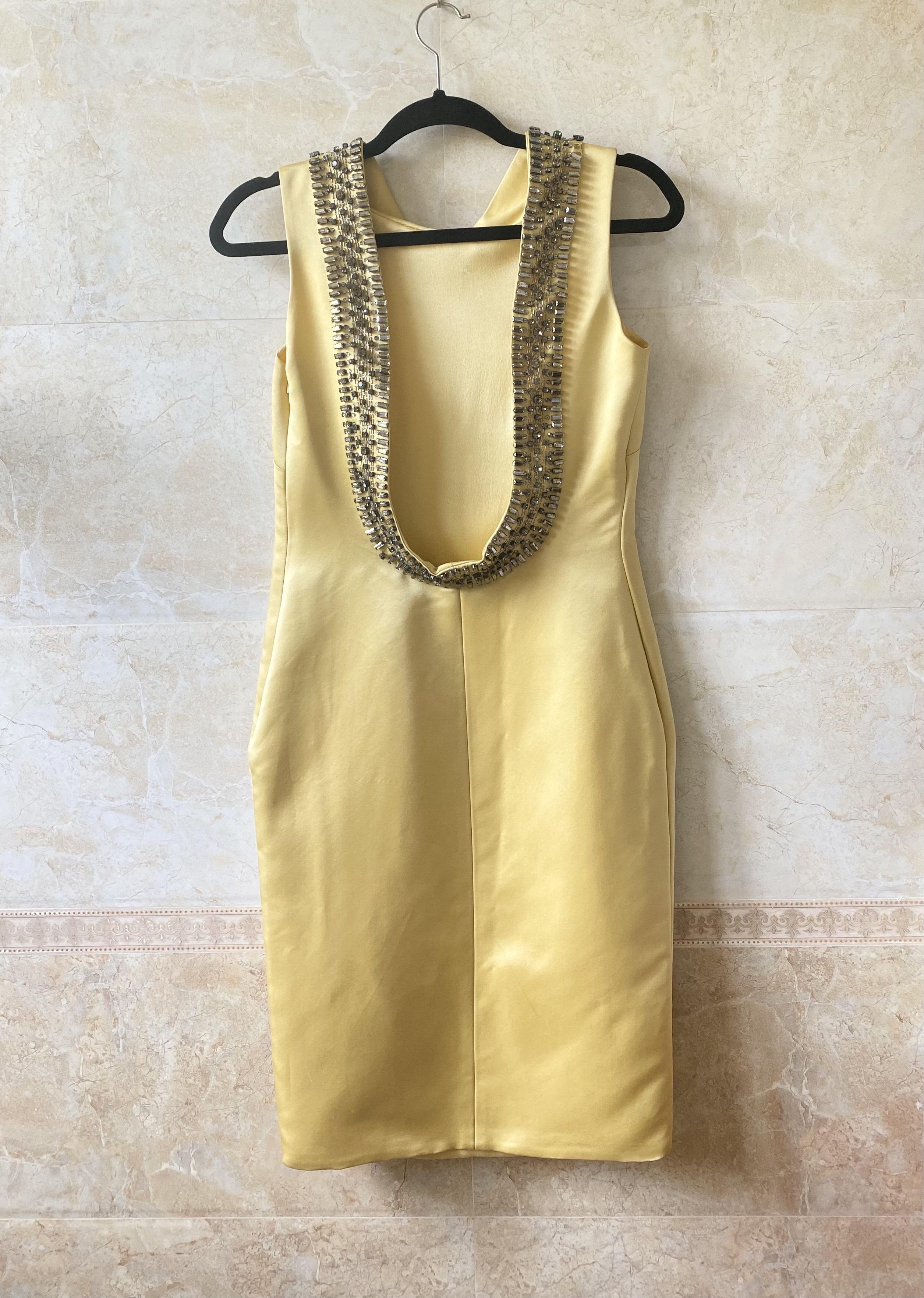 Show heavy silk satin chicken Beige Rhinestone open back dress knee length dress Valen~