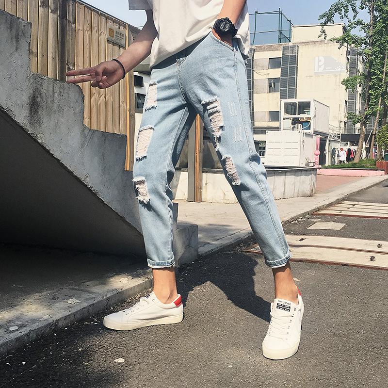 秋季破洞裤男士九分牛仔裤韩版修身小脚9分裤青少年宽松乞丐裤男