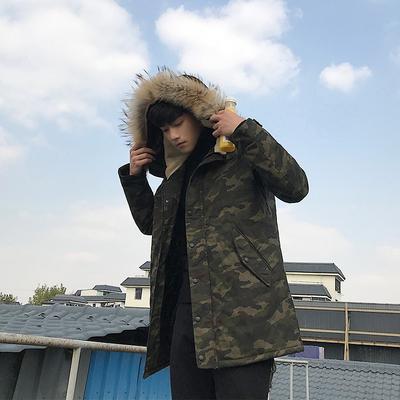 青少年外套中长款迷彩貉子毛连帽加厚棉衣 A353-2-YY01-P138
