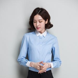 白襯衫女長袖職業工作服正裝工裝修身V領白色襯衣職業裝韓范女裝
