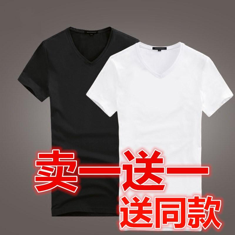 春夏白色黑色短袖男士棉纯色打底衫11-26新券