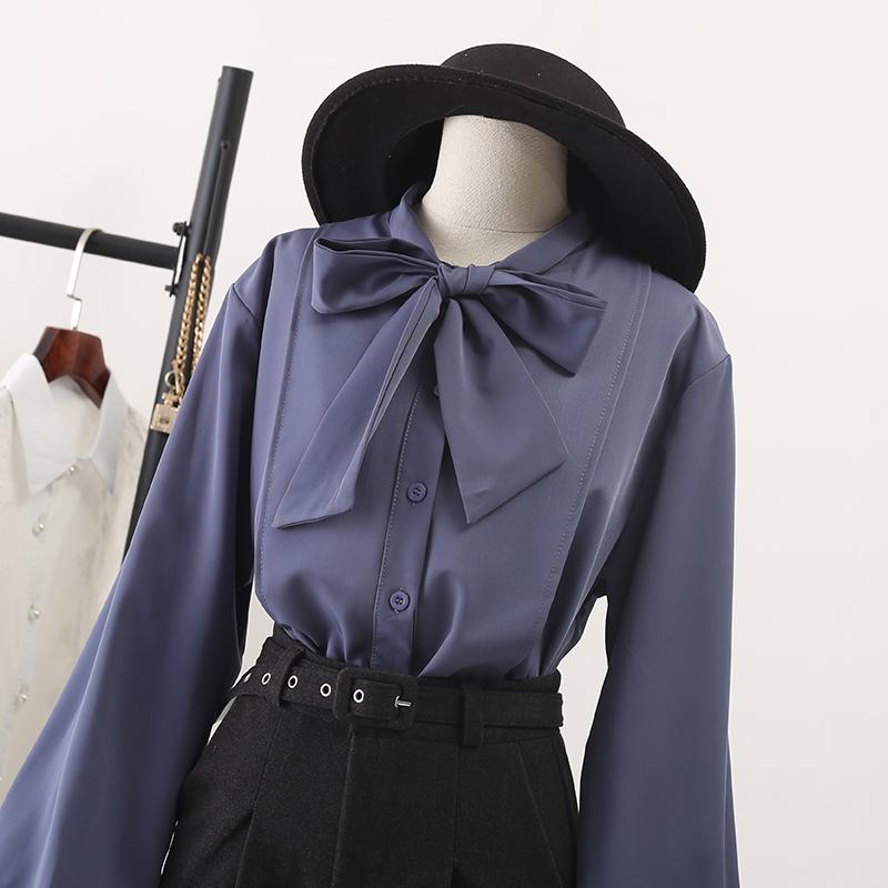 蝴蝶结加绒衬衫长袖2019春装新款女装灯笼袖上衣泡泡袖雪纺白衬衣