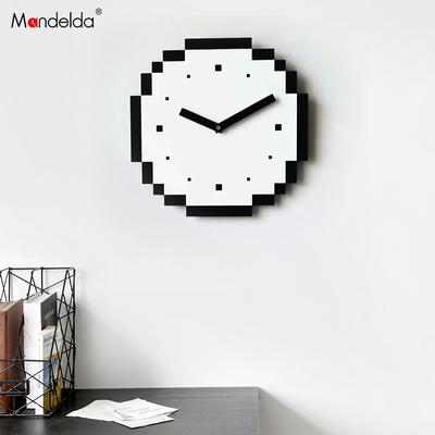 mandelda美式现代简约艺术钟表挂钟客厅北欧时尚家用像素个性创意