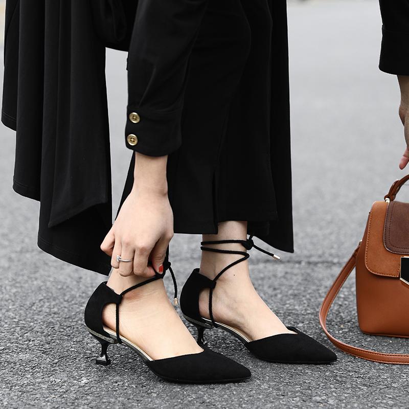 高跟鞋女夏2020新款凉鞋韩版百搭单鞋尖头细跟中空黑色职业猫跟鞋