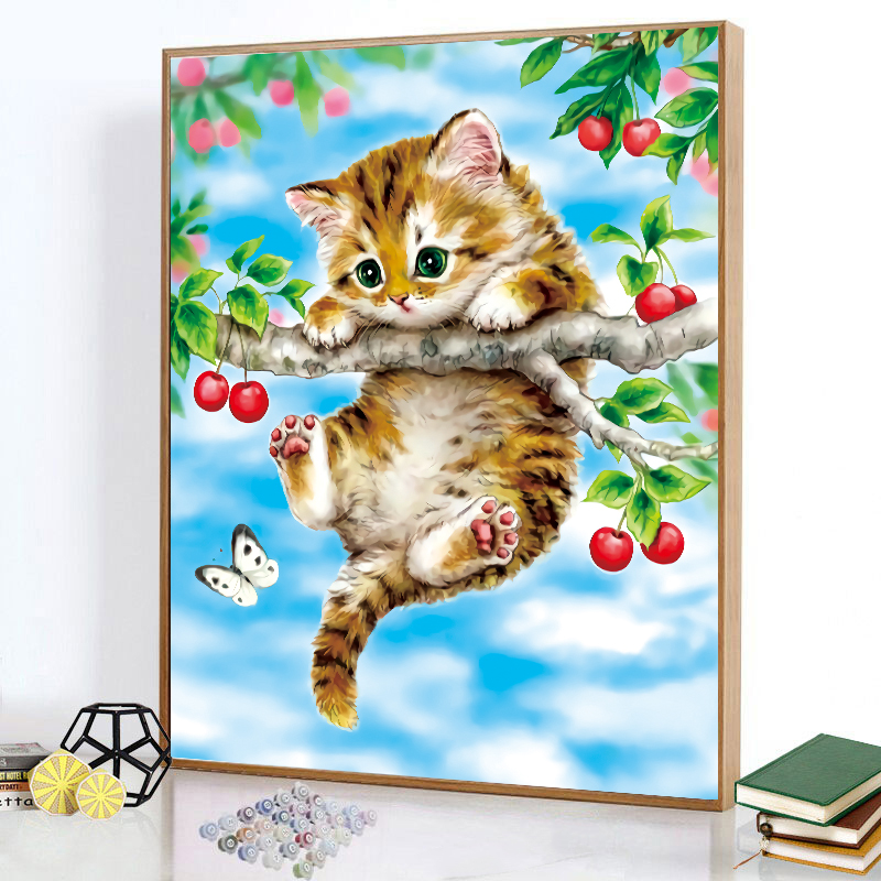 Cross stitch cartoon 2021 new kitty fresh small pieces home living room hand embroidery thread embroidered