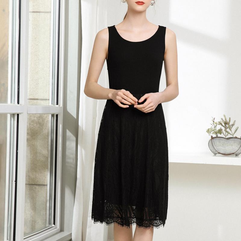 胖MM大码女装2020夏季新品时尚百搭韩版纯色无袖蕾丝背心裙女潮