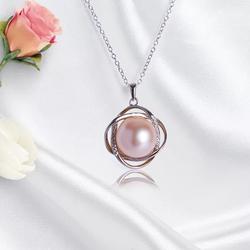 正圆浅粉色强光天然淡水珍珠吊坠 13mm 正品S925镐石银项链
