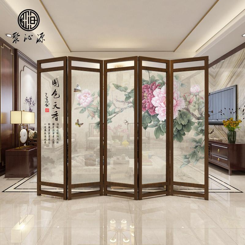 Новый китайский стиль экран отрезать гостиная дерево мобильный сложить отрезать стена дуплекс ткань пирсинг сложить экран отели экран