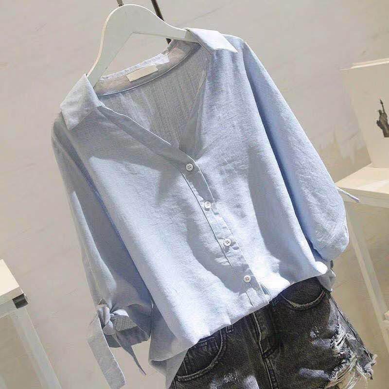 韩风小衬衫女2020夏季新款纯色休闲V领上衣胖mm大码宽松短袖衬衣