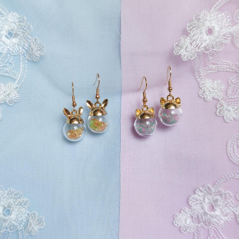 好玩可爱的耳环兔子耳朵猫咪摇摇乐耳饰原创设计少女萌系甜美耳夹