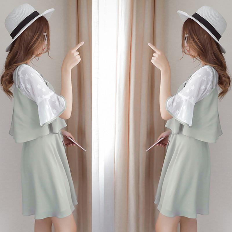 春夏甜美裙女小个子假两件初恋裙女学生超仙裙子雪纺仙气连衣裙女10月17日最新优惠