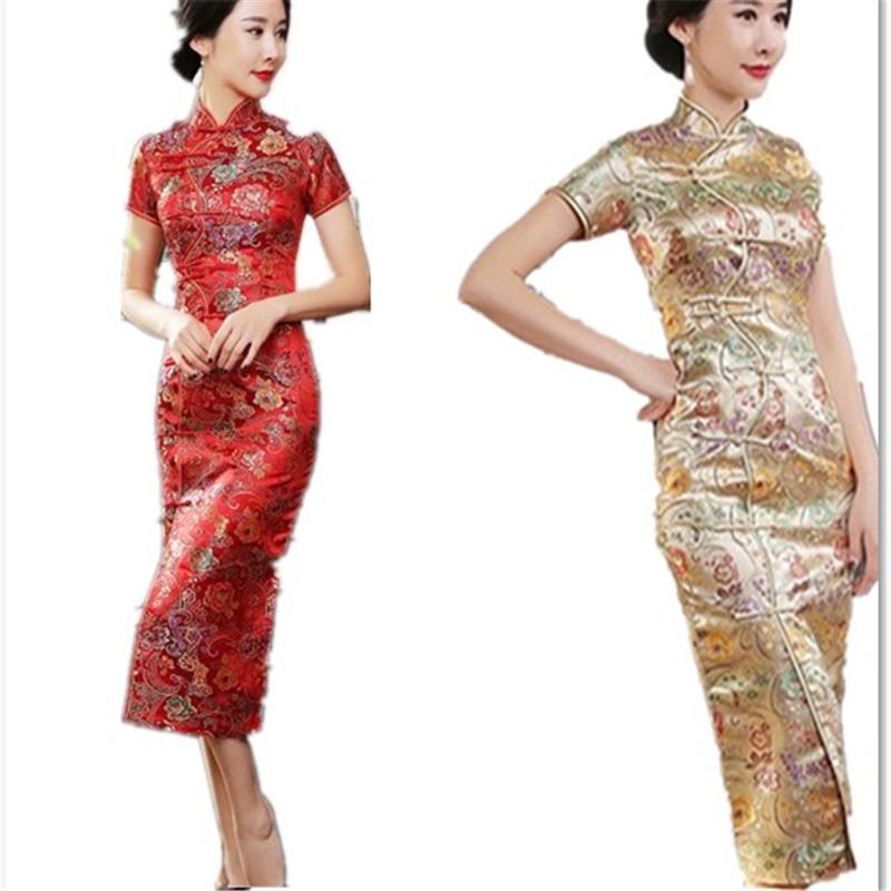 新款民族风日常大码女装连衣裙立领花色开衫十字扣短袖胖MM长旗袍