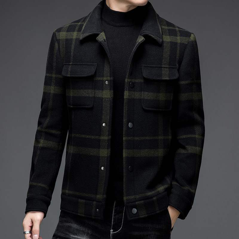 Pele striped Plaid Wool mens Lapel coat 2021 autumn winter new mens jacket slim and thickened wool