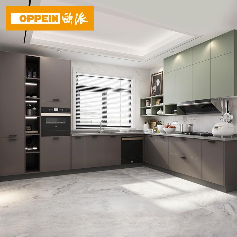欧派厨房橱柜定制贝尔整体厨房柜石英石台面厨房柜定制简约厨柜