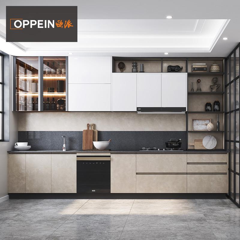欧派厨房橱柜定制林海实木整体厨房柜石英石台面现代简约厨柜