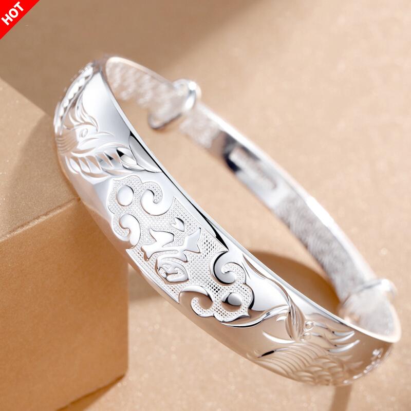 纯银女银可调节时尚纯手工银手镯
