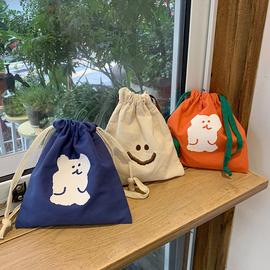韩风ins简约卡通可爱小熊抽绳束口袋化妆品整理收纳包洗漱化妆包