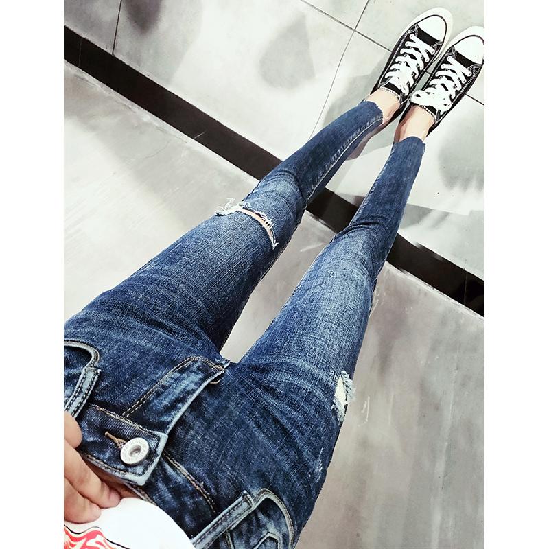 精品纯棉九分牛仔裤女显瘦中低腰弹力破洞裤子韩国深蓝色铅笔裤潮