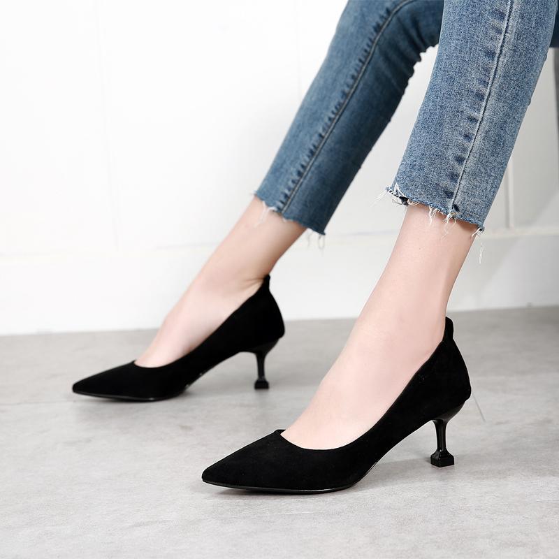 黑色职业高跟鞋法式少女秋冬季5cm细跟软皮不磨脚中跟绒面工作鞋