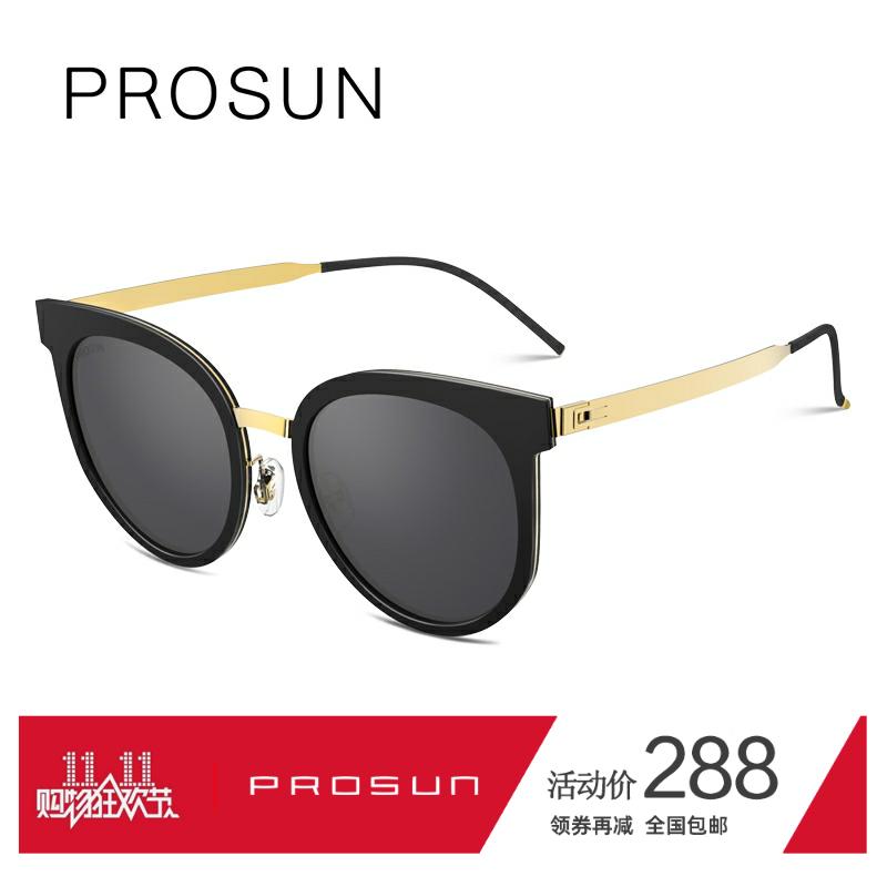 新款保圣偏光太阳镜女黑框长脸显瘦复古猫眼墨镜可配近视潮PS6007