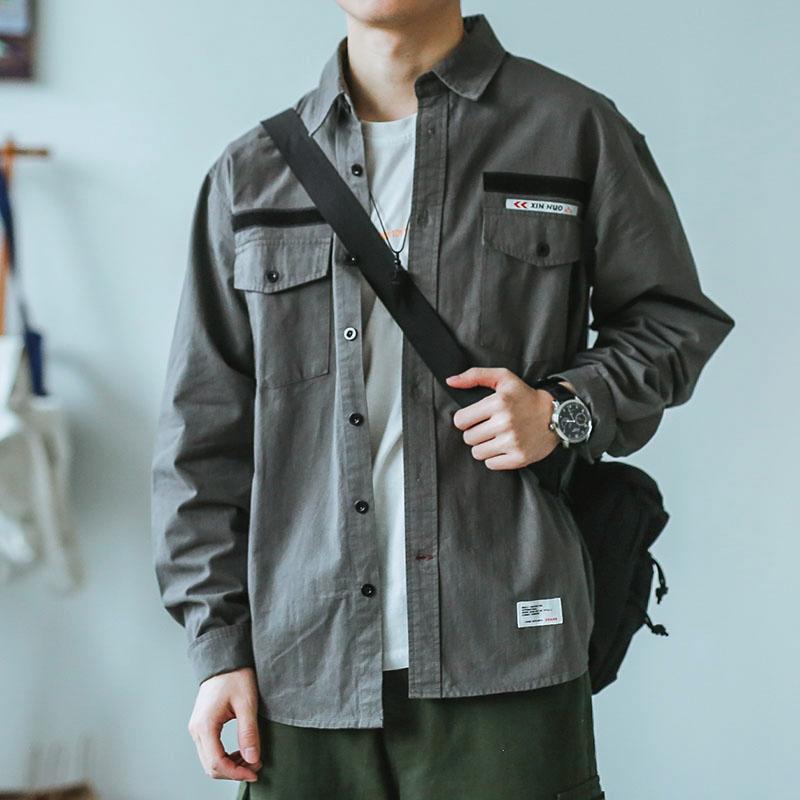 11-06新券嘿马七作日系复古新款男长袖衬衫