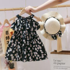 女童小雏菊连衣裙2021新款夏装公主裙中小童儿童洋气吊带沙滩裙潮