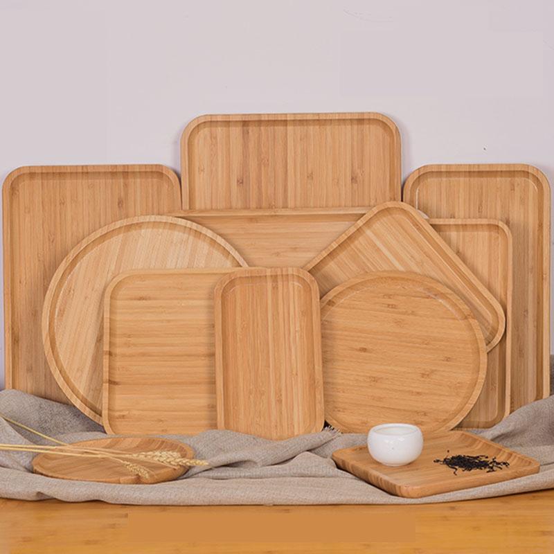 竹木质托盘酒店水果盘点心盘小吃盘水杯茶盘子家用长方形创意日式
