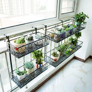 双层阳台栏杆花架置物架花盆架室内悬挂装饰铁艺挂式花架子多层肉