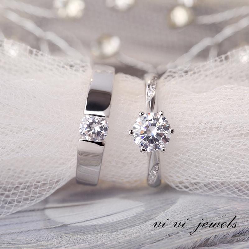一克拉六爪仿真钻戒情侣结婚活口对戒简约男戒指婚礼仪式用的道具