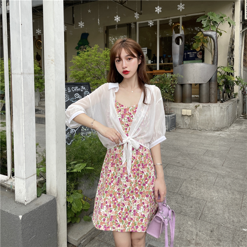 2021 summer new solid color shirt cardigan sunscreen + gentle floral suspender dress two-piece set