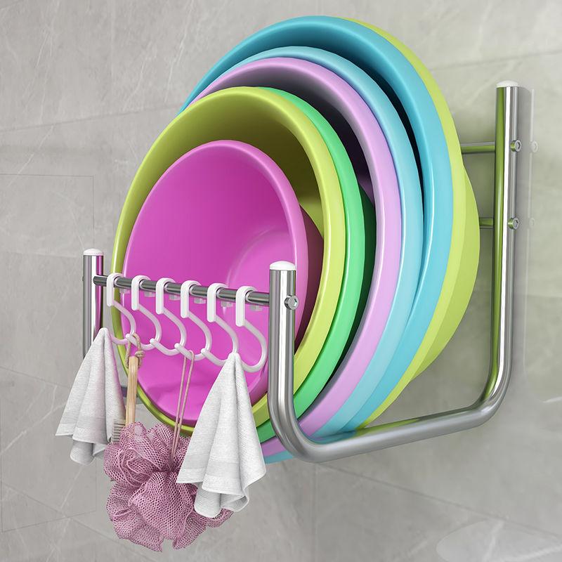 免打孔卫生间放盆架洗脸盆架盆子收纳架免钉壁挂置物架浴室置物架