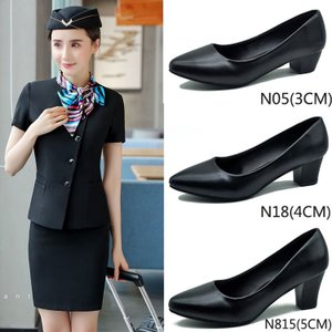 正装黑色工作鞋女细跟尖头中跟单鞋真软皮鞋职业高跟鞋粗跟空姐鞋