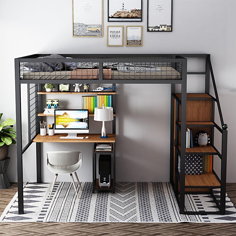 北欧の鉄芸の高架のシーツの上段の下段の鉄の架台のベッドの近代的な簡単な部屋型のシングルマンションの屋根裏のベッド