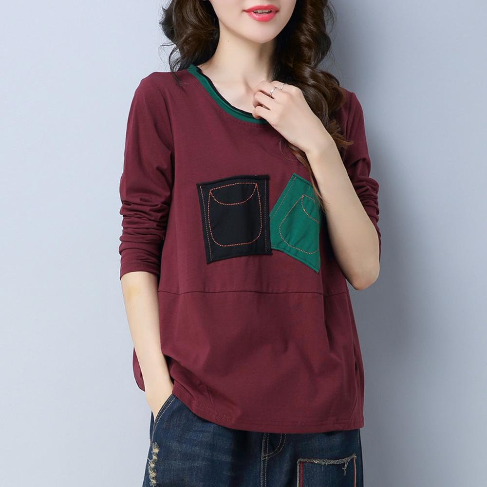 纯棉长袖t恤女 2020春秋装新款中年妈妈宽松加大码上衣洋气打底衫