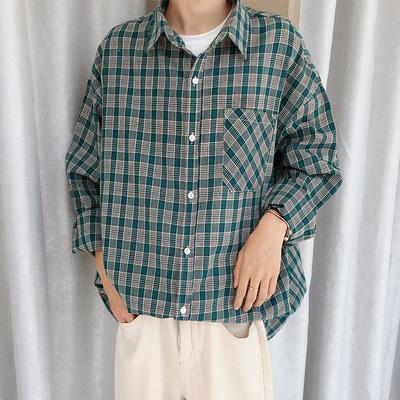 港风男装衬衫男宽松长袖袖格子衬衣 C522-P55