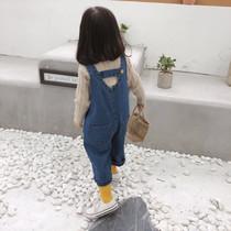 女宝宝牛仔裤背带裤秋装2020新款女童婴儿春秋洋气小童儿童裤子女