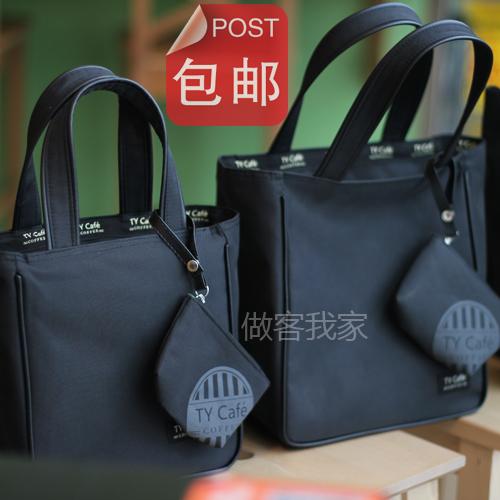 新款 防水手拎袋 饭盒袋便当袋便当包 水杯位 黑色带拉链 包邮