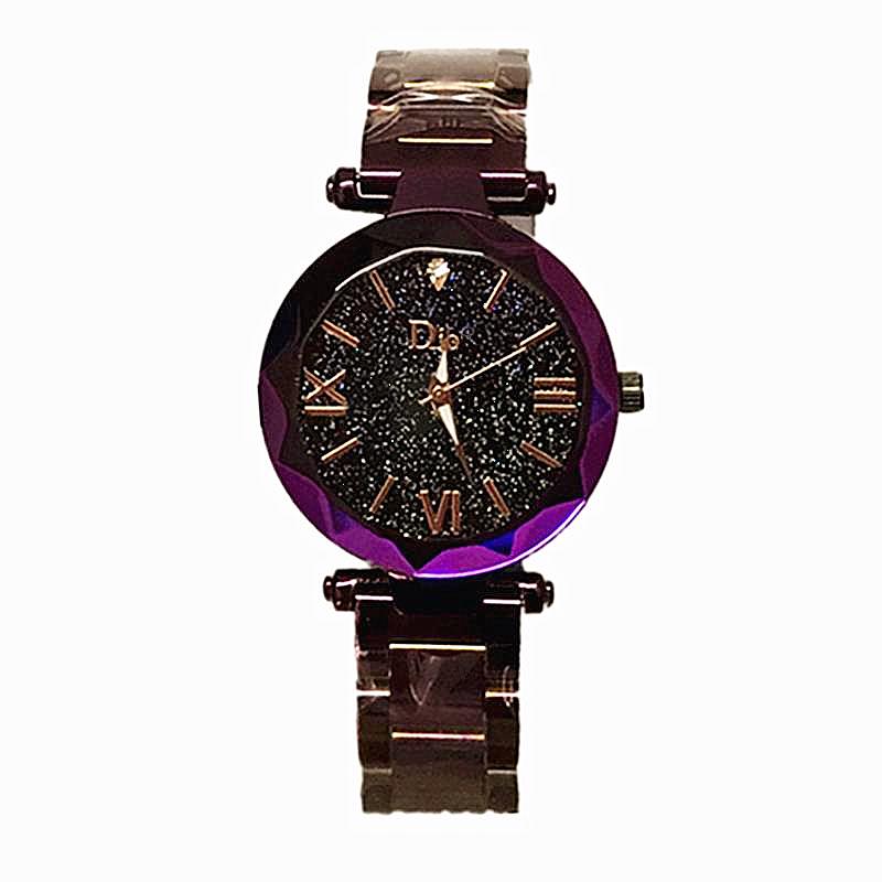 2021新型ファッションウォッチ女性用ブラック石英非防水気質腕時計精鋼帯星空数字