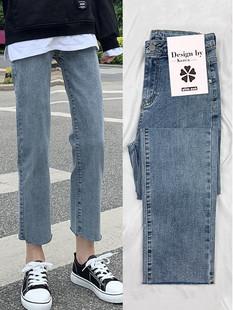 新款 高腰直筒牛仔裤 女宽松黑色2020年秋装 子 显瘦八分小个子烟管裤