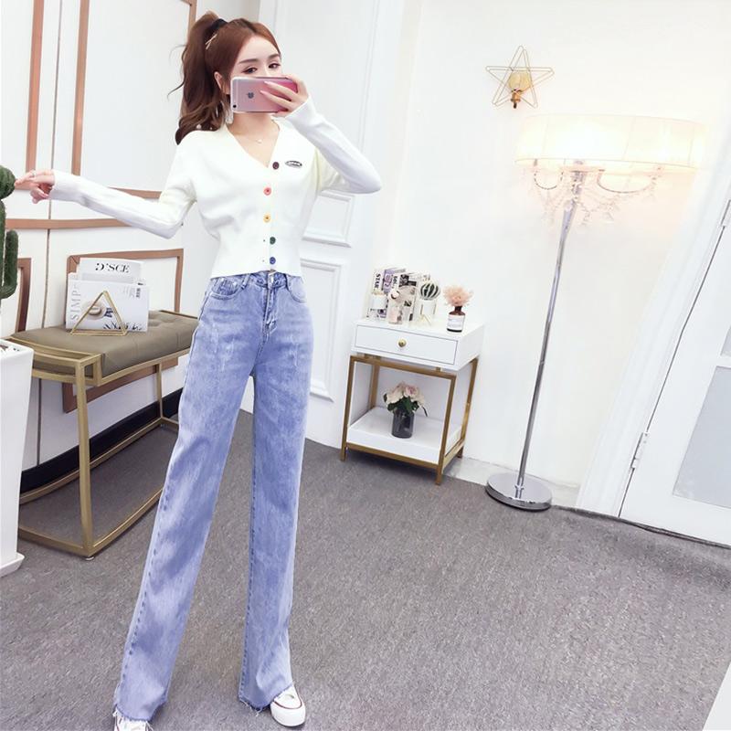 高腰阔腿裤套装女春秋时尚洋气减龄针织开衫毛衣搭配牛仔裤两件套