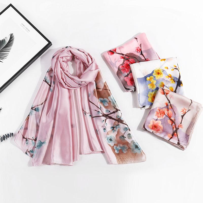 2020 new Korean silk all season fashion all-around scarf womens summer sunshade shawl Bib long scarf