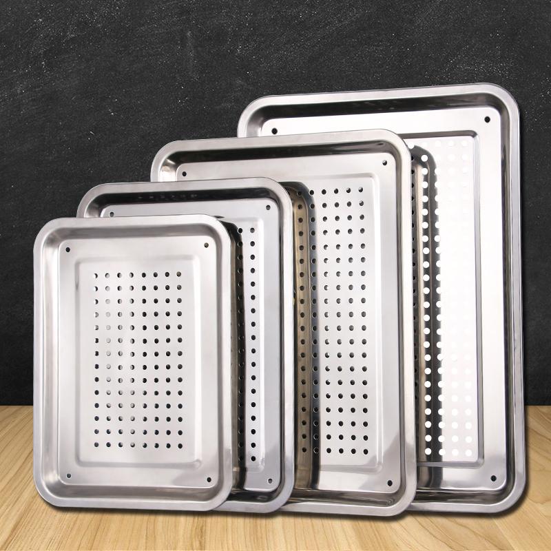 【特价】不锈钢漏盘长方形茶盘托盘家用饺子沥水盘漏油盘过滤漏水