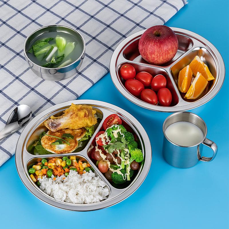 抗菌防霉食品级304不锈钢餐盘分格圆形儿童饭盘托管班宝宝分格盘