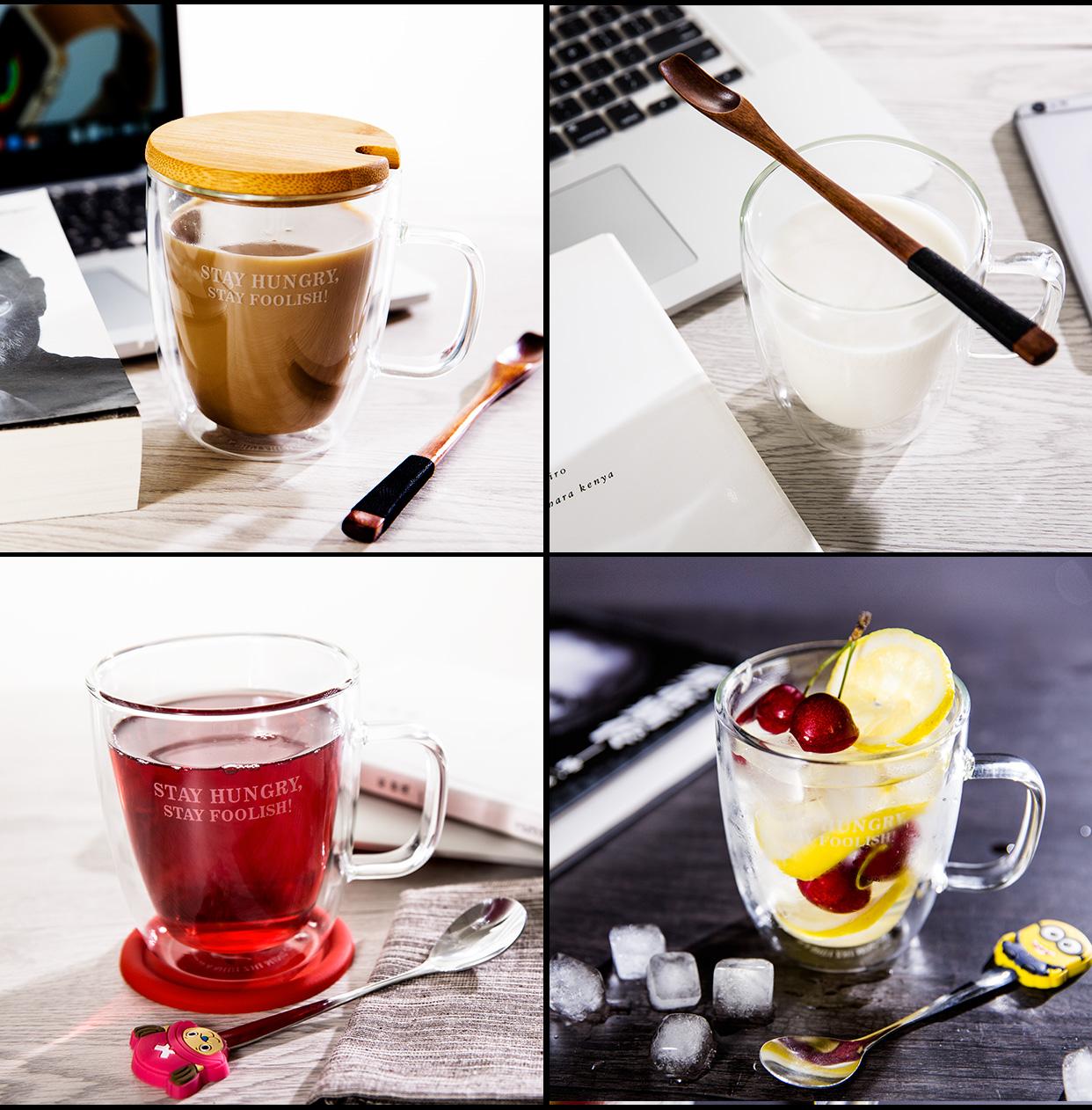 馬克杯帶蓋勺 雙層咖啡杯茶杯家用耐熱水杯 情侶玻璃杯子一對
