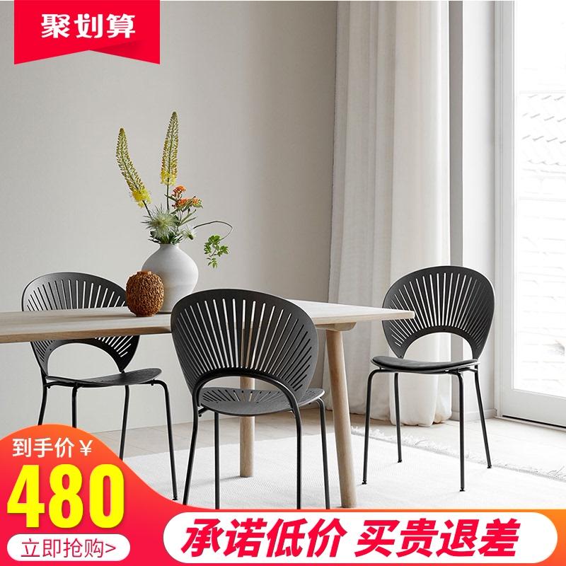 丹麦轻奢餐椅实木家用北欧椅子设计师太阳椅现代简约化妆椅贝壳椅