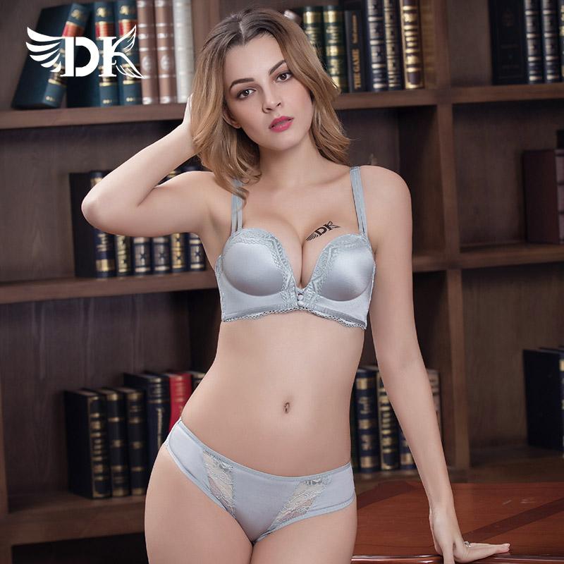 DK正品内衣文胸套装聚拢无钢圈一片式无痕性感蕾丝女大码小胸品牌